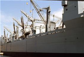 The side of a ship, as viewed from a dock