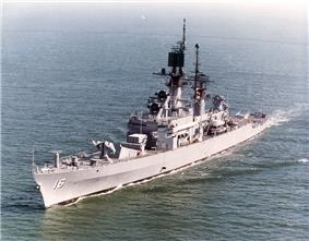 USS Leahy, port bow view departing San Diego, May 1978