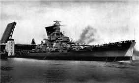 The battleship Massachusetts passed through an opened drawbridge