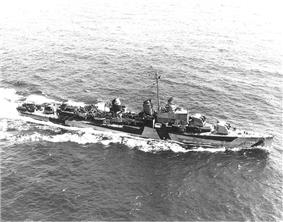 USS Meredith (DD-726) Seen here at sea, 16 April 1944.