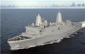 USS Mesa Verde (LPD-19) during builders sea trials, circa December 2007.