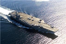 USS Nimitz (CVN-68), lead ship of her class of supercarriers.