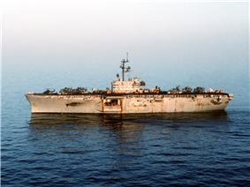 USS Okinawa (LPH-3) in the Persian Gulf in 1987