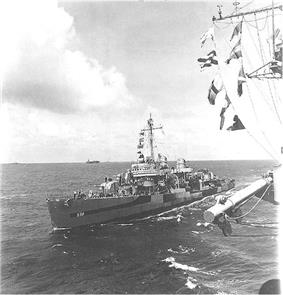 USS Paul Hamilton (DD-590) during the Iwo Jima campaign, 11 March 1945. She is wearing camouflage Measure 32, Design 3d.