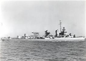 USS Pringle (DD-477) December 1942, 5 inch (127 mm) guns trained to port.