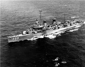 USS Renshaw (DDE-499), while operating in Korean waters, 27 July 1951.