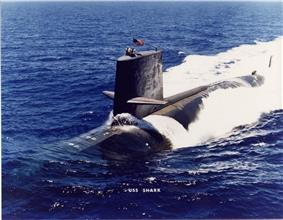 USS Shark underway in the early 1980s