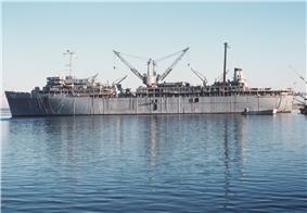 USS Simon Lake (AS-33) at Kings Bay in 1981
