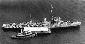 USS Solar (DE-221) in New York harbor, 22 July 1944