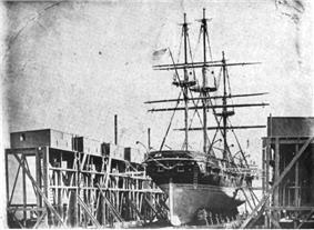 USS St. Mary‍ '​s in drydock at Mare Island Naval Shipyard, ca. 1854
