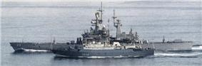 Kareliya with USS Texabn CN-39