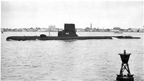 Thornback (SS-418) in the Cooper River in Charleston, 1956.