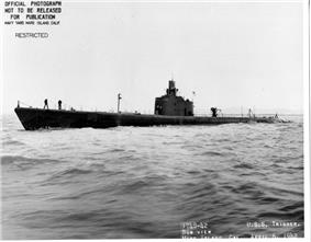 Trigger (SS-237) underway off Mare Island Navy Yard, 6 April 1942.