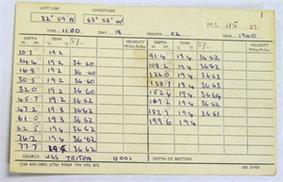 Data sheet dated February 18, 1960 with colulms and rows of position, depth, and sea temperature information.