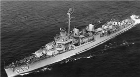 USS Wadleigh (DD-689) Underway, c. 1951.