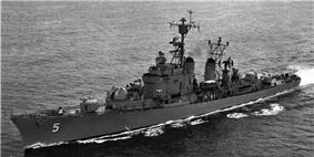 USS Wilkinson (DL-5) underway in late 1950s