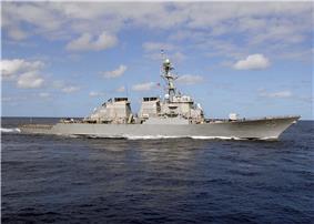 USS Stout (DDG-55) underway, Atlantic Ocean,  26 September 2010