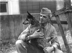 soldier with Cattle Dog 1940