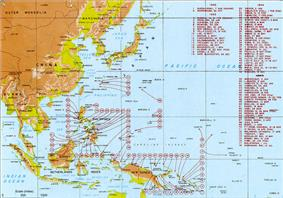 Map indicating US landings during the Pacific War