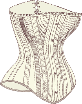 front of corset by busk
