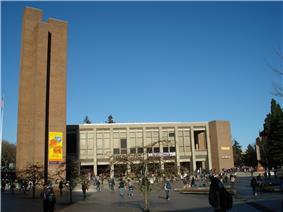 Kane Hall and the three brick monoliths