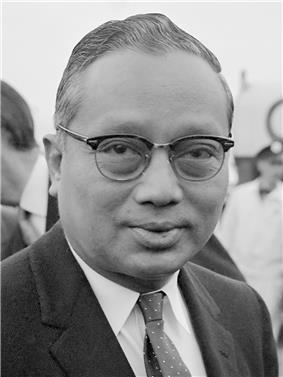 Official portrait of U Thant with a UN flag in the background.