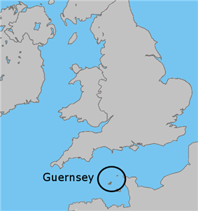 Map showing Guernsey in relation to the United Kingdom
