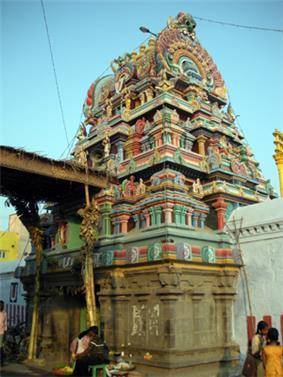 The three tiered Raja Gopuram of Ulagalantha Perumal Temple