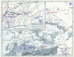 Map with scattered lines showing the westward advance of the French army.
