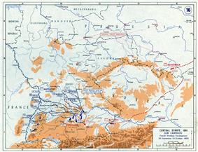 Map with scattered blue lines detailing the envelopment of the Austrian army, showing moving with scattered red lines.