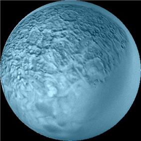A spherical blueish body with its surface covered by craters and polygons. The lower right part is smooth.