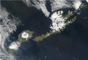 Satellite shot of Umnak and Unalaska Islands