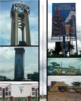 Top left: Abia tower. Mid Left: Umuahia Clock Tower. Bottom Left: Federal High Court, Umuahia. Center: BCA Radio Tower. Top Right: Star Beer sponsored welcome Billboard. Mid Right: Umuahia Market. Bottom Right: Umuahia Police Station.