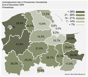 Unemployment rate in Pomeranian Voivodeship by powiatships (counties) as of the end of 2006