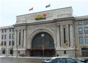 Front facade of the Union Station / Winnipeg Railway Station (Canadian National)