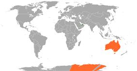 Map indicating locations of United Arab Emirates and Australia