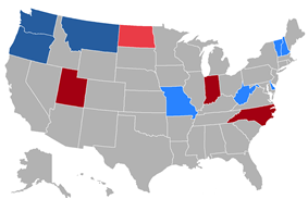 Color coded map of 2016 Gubernatorial races
