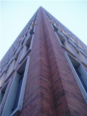exterior of corner of a tower building