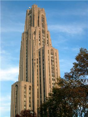 The University of Pittsburgh's Cathedral of Learning dominates Oakland's skyline.