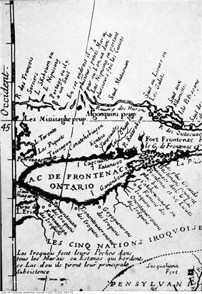 Hand-drawn late 1600s map of Lac de Frontenac (Lake Ontario), showing Ganatsekwyagon (Ganatchekiagon) and Lac Taronto, and the land occupied by the Mississaugas and the Iroquois, with all the map notations written in French