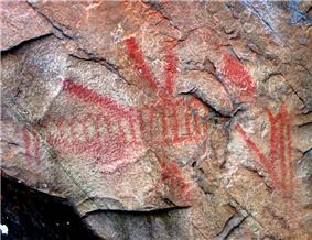 View of pictographs on Mazinaw Rock