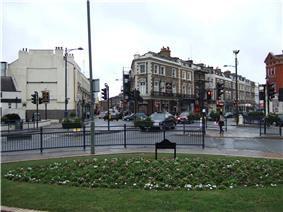 Photo showing road junction at the end of Crystal Palace Parade.