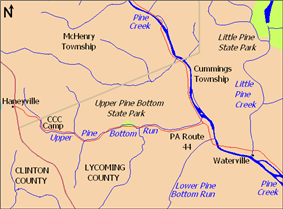 A map showing streams, villages, and highways, with the park a small green triangle in the center