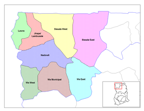 Location of Upper West Region Districts in Ghana