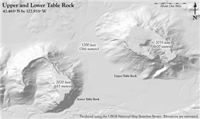 A gray shaded relief map showing the horseshoe shapes of the rocks, with respective labels and elevations