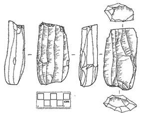 Line drawing of a cylindrical blade core. Image shows six view angles. Drawn from a specimen in the Burke Museum archaeological collection.