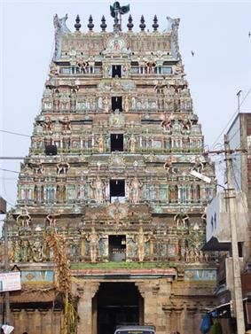 The rajagopuram (gateway tower) of the temple, depicting the pyramidal structure