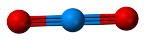 Ball-and-stick model of the uranyl cation