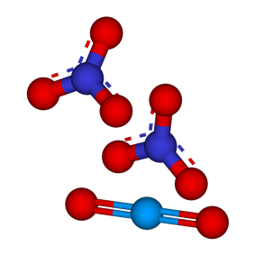 Ball-and-stick models of the ions present