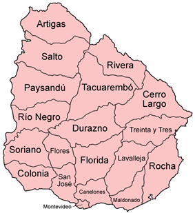 Map of the departments of Uruguay.